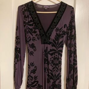 Hale Bob purple and black mini dress